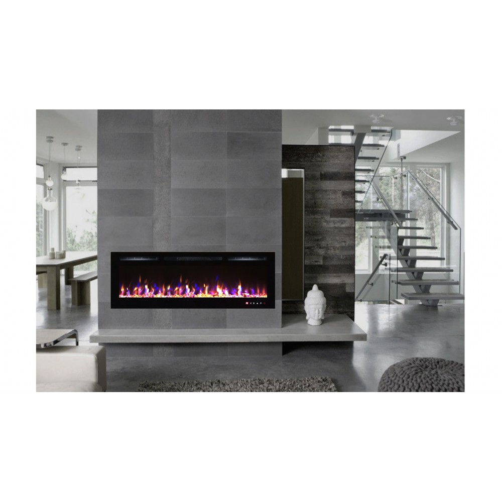 Chemin e lectrique 182cm encastrable kamin black nice 72 - Accesorios para chimeneas decorativas ...