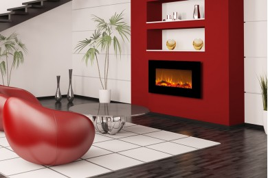 Black Flat Wall Mounted Electric Fireplace KAMIN NEGRA 36